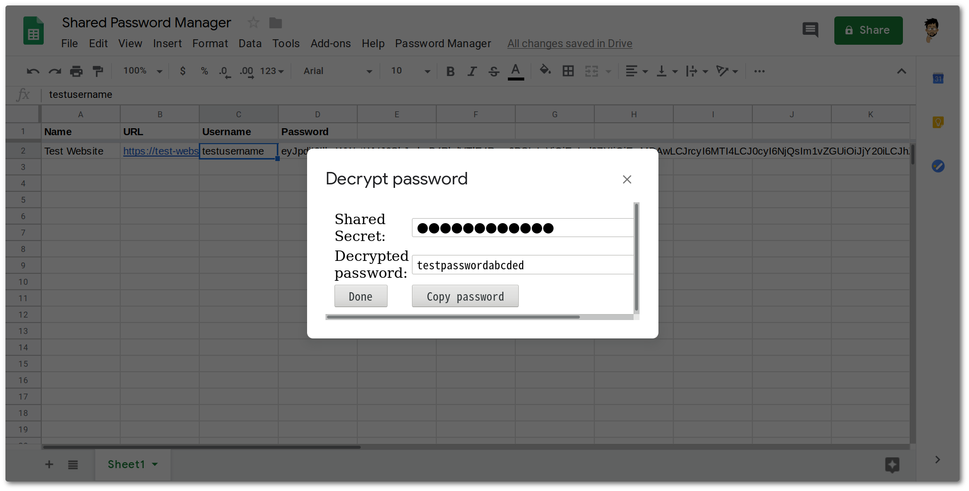 Building a shared password manager on Google Sheets